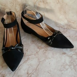 Metaphor ankle strap pointy black faux suede flats